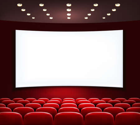 theater auditorium: Cinema with white screen and seats. Vector.