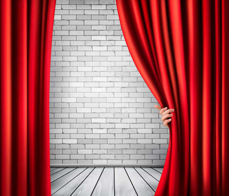 Background with red velvet curtain and hand. Vector. Vector