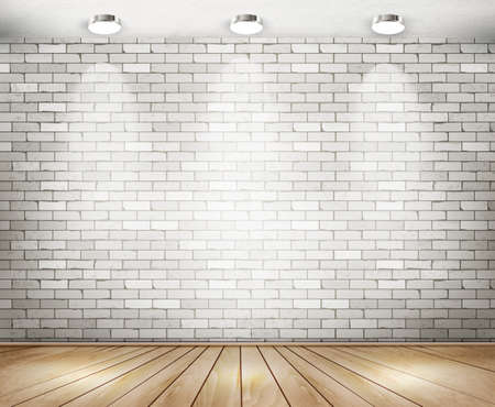 White brick room with spotlights. Vector. Stock Illustratie