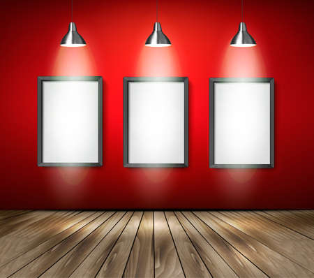 hanging sign: Red room with spotlights and wooden floor. Vector. Illustration