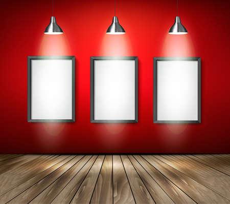Rode kamer met spots en een houten vloer. Vector. Stock Illustratie
