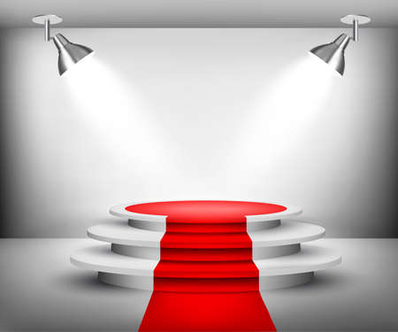 runway: Showroom with red carpet. Vector.