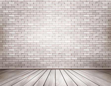흰색 벽돌 방. 벡터. 일러스트