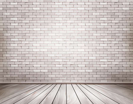 wood floor: White brick room. Vector.