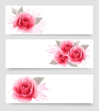 rosas rosadas: Tres banderas con rosas de color rosa. Vector.