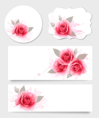 Set of gift cards and banners with beautiful flowers. Vector. Vector