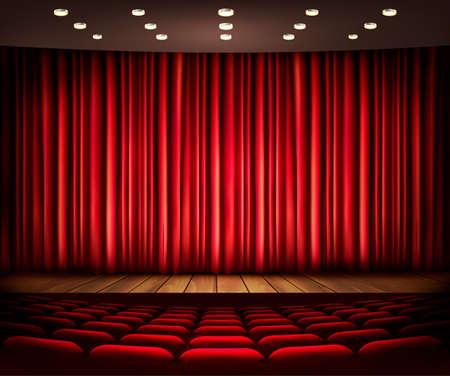 cinema seats: Cinema or theater scene with a curtain. Vector.