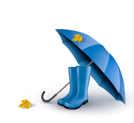 Arrière-plan avec parasol et bottes de pluie bleu. Vector.