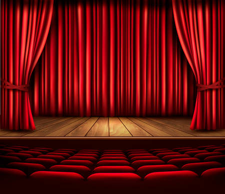 drama: A theater stage with a red curtain, seats and a spotlight. Vector.