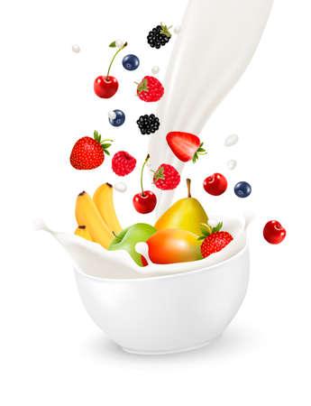 Kom van gezonde vruchten en splash melk. Vector illustratie. Stock Illustratie