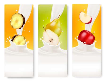 fresh milk: Three fruit and milk banners. Vector.