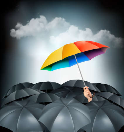 stand out: One rainbow umbrella standing out on a grey background. Unique concept. Vector.