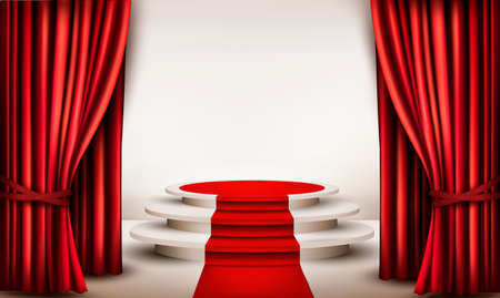Background with curtains and red carpet leading to a podium