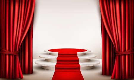 tela blanca: Fondo con cortinas y alfombra roja que conducen a un podio
