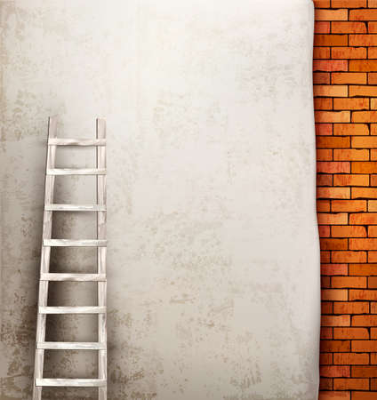 Vintage brick wall background with wooden ladder Vector
