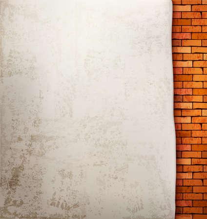 paredes exteriores: Fondo de la pared de ladrillo de la vendimia. Vectores