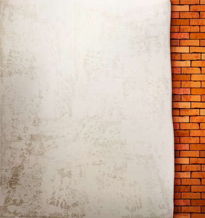 orange color: Vintage brick wall background.  Illustration