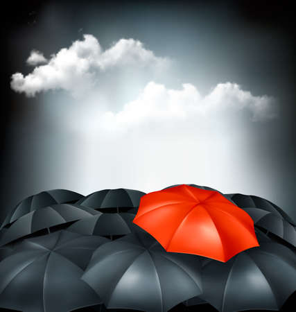 extraordinary: One red umbrella in a group of grey umbrellas.