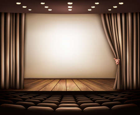 Cinema with white screen, curtain and seats.