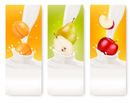 splash milk: Three fruit and milk banners.