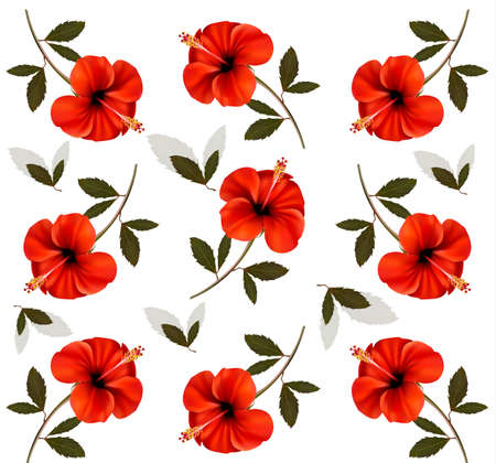 Pattern of beautiful red flowers. Vector