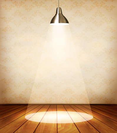 木製の床とスポット ライトの昔の部屋。