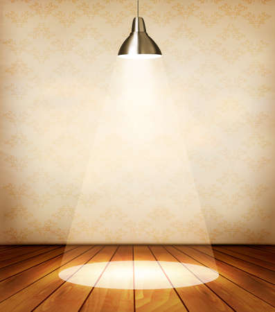 Old room with wooden floor and a spotlight.  Illustration