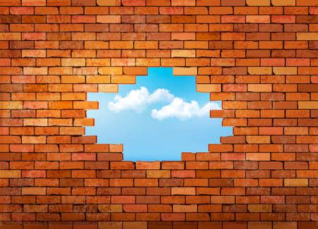 구멍 빈티지 벽돌 벽 배경입니다. 벡터