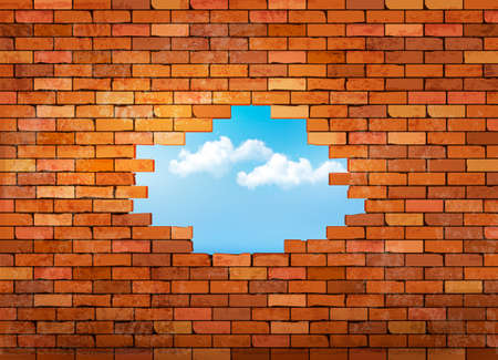 exterior wall: Vintage brick wall background with hole. Vector Illustration