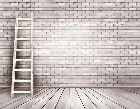 Old white brick wall background with wooden ladder. Vector