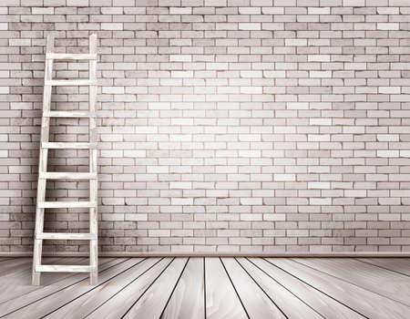 Fondo de la pared de ladrillo blanca vieja con escalera de madera. Vector
