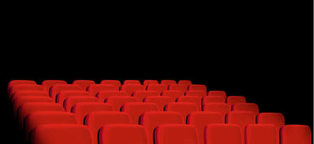 classical theater: Rows of red cinema seats on a black background. Vector.