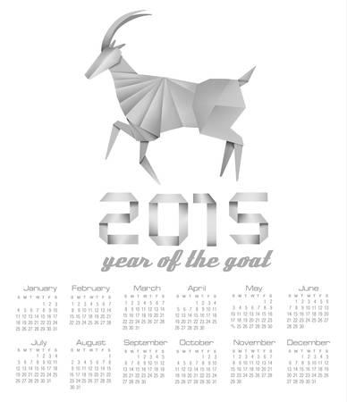 2015 year of the goat calendar. Vector. Illustration