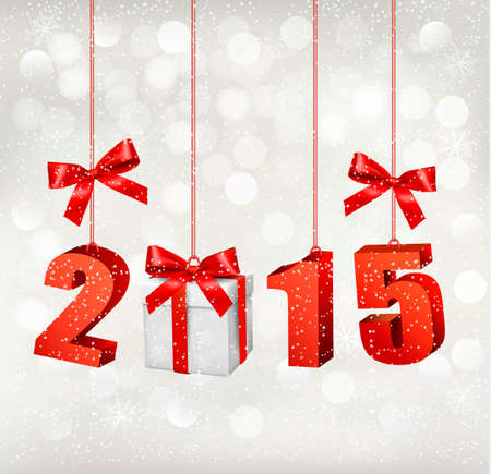 2015 New Years background with gift. Vector. Vector