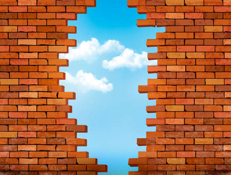 Vintage brick wall background with hole. Vector Vettoriali