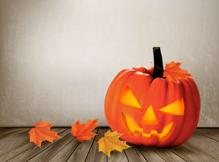Halloween background with a Jack O Lantern. Vector.