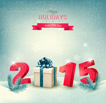 frohes neues jahr: Frohes neues Jahr 2015! Neues Jahr Design-Vorlage Vektor-Illustration