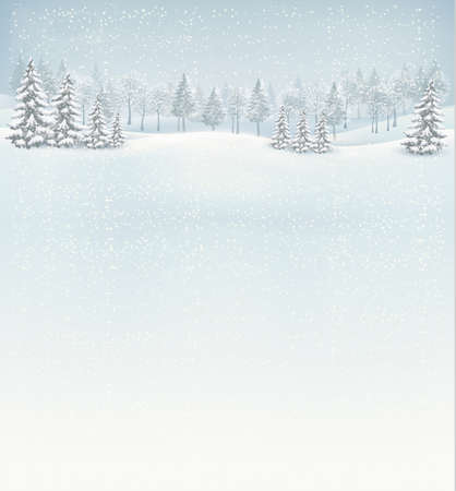 winter: Christmas winter landscape background. Vector.