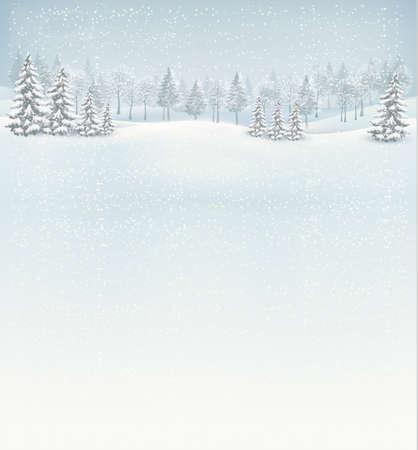 paisaje: Navidad de fondo paisaje de invierno. Vector.