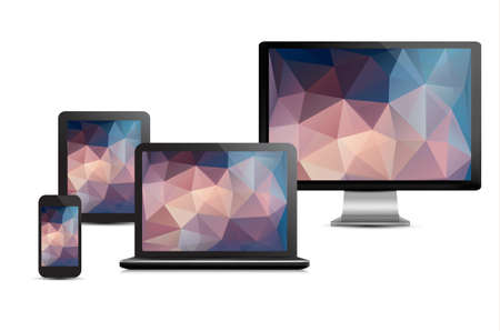 Set of realistic display, laptop, tablet computer and mobile phone template with polygon backgrounds. Vector. Vector