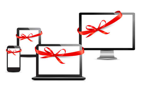 Set of digital devices with gift ribbons and bow. Vector Illustration