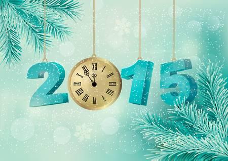 frohes neues jahr: Urlaub auf dem Hintergrund mit einem 2015 mit einer Uhr. Vector. Illustration
