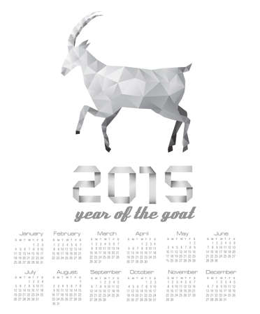 2015 calendar with a polygon goat. Vector. Vector