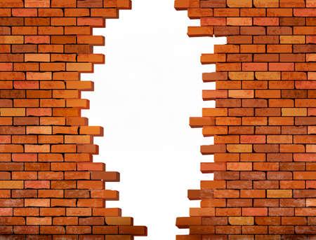ヴィンテージのレンガの壁の穴と背景。ベクトル
