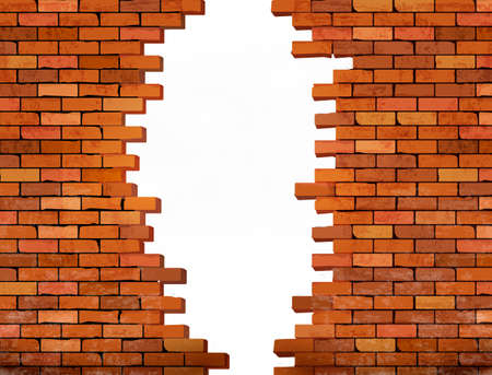concrete block: Vintage brick wall background with hole. Vector Illustration