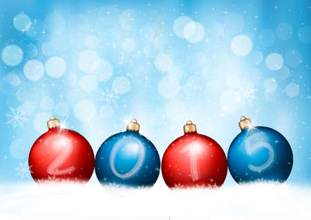 Christmas background with a 2015 made out of baubles. Vector Vector