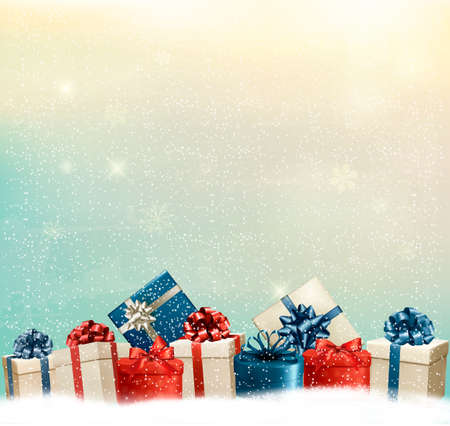 holiday greetings: Holiday Christmas background with a border of gift boxes. Vector.