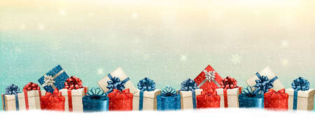 presents: Holiday Christmas background with a border of gift boxes. Vector.
