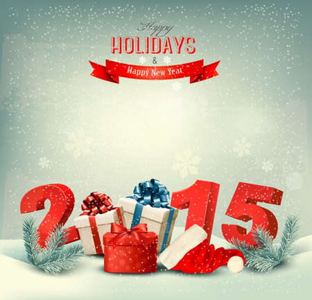 new opportunity: Holiday background with presents and a 2015. Vector.