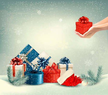 white snow: Christmas winter background with presents. Vector.